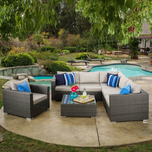 Pleasing Santa Barbara Outdoor 6 Seater Wicker Sectional Sofa With Aluminum Frame And Sunbrella Cushions Onthecornerstone Fun Painted Chair Ideas Images Onthecornerstoneorg