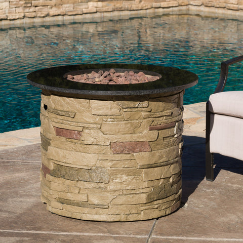 "Hollyhock 32"" Stone Circular Mgo Fire Pit With Top"