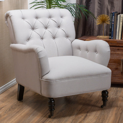 Ramona Haven Linen Tufted Natural Fabric Chair