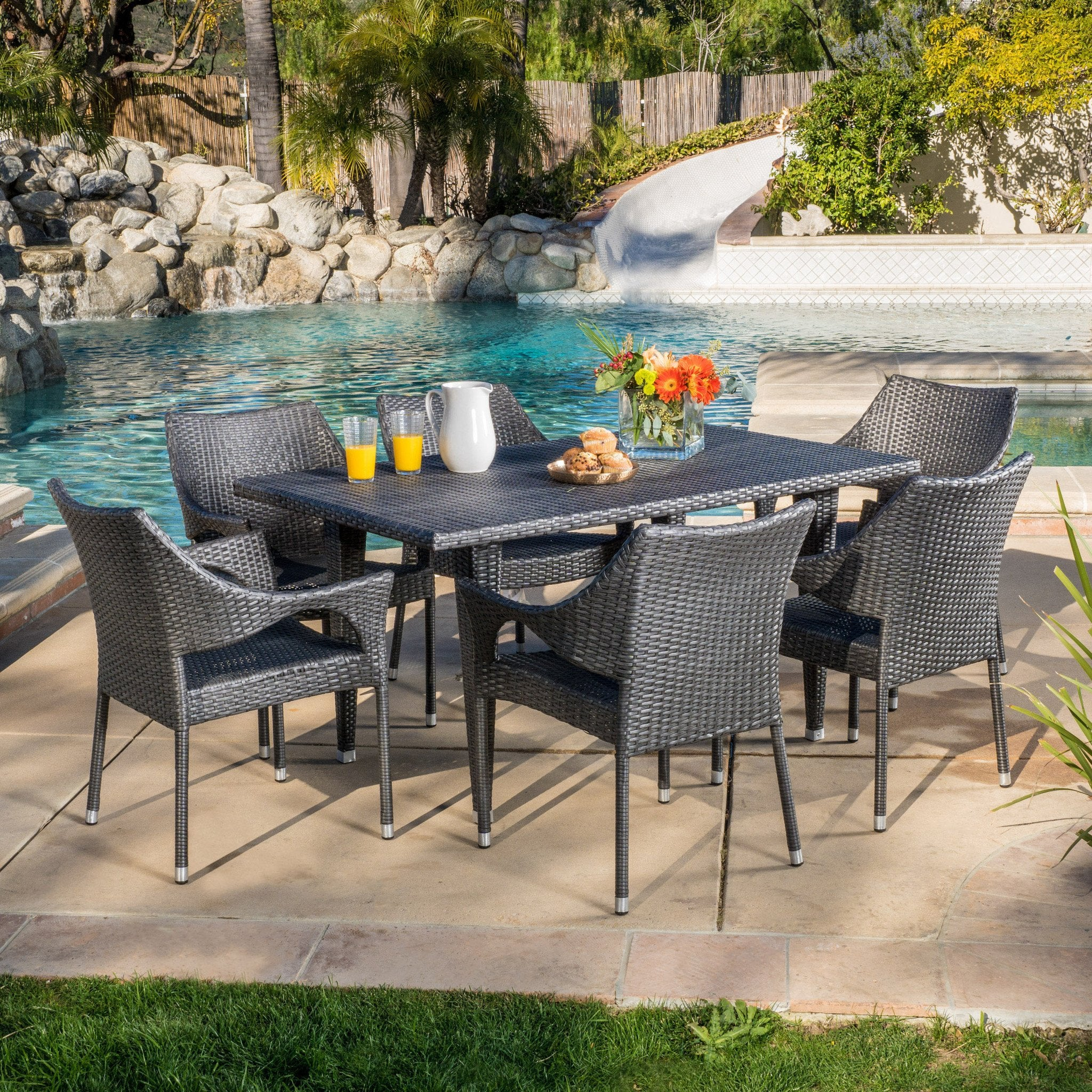 Clemensia Outdoor 7Pc Dining Set