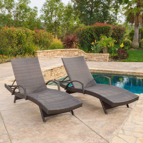 Sagan Outdoor Wicker Adjustable Chaise Lounge With Arms (Set Of 2)