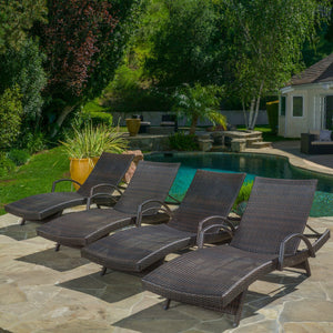 Sagan Outdoor Wicker Adjustable Chaise Lounge With Arms (Set Of 4)