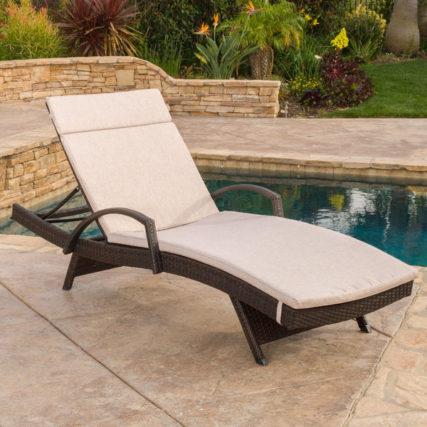 Sagan Outdoor Wicker Adjustable Chaise Lounge With Arms W/ Carmel Cushion