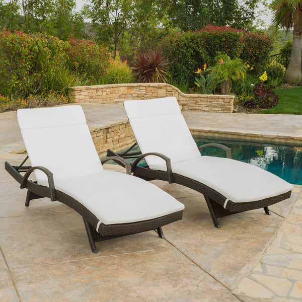 Sagan Outdoor Wicker Adjustable Chaise Lounge With Arms W/ Carmel Cushion (Set Of 2)