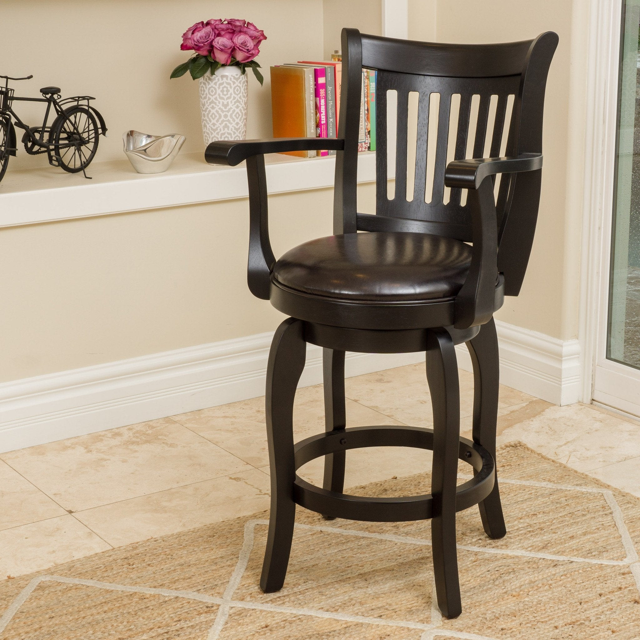 "Portman 24"" Armed Bonded Leather Swivel Counter Stool"