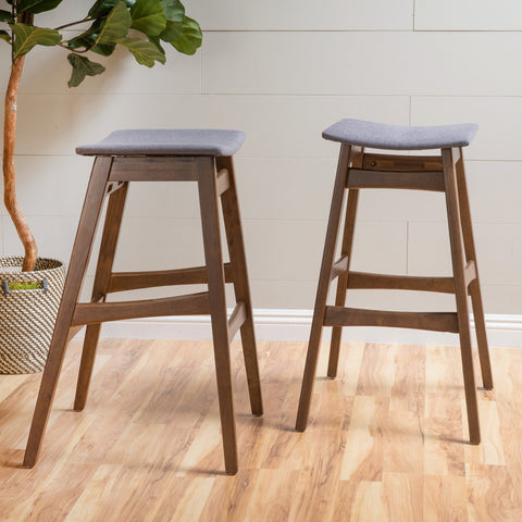Emilie Fabric/ Finish Bar Stool (Set Of 2)