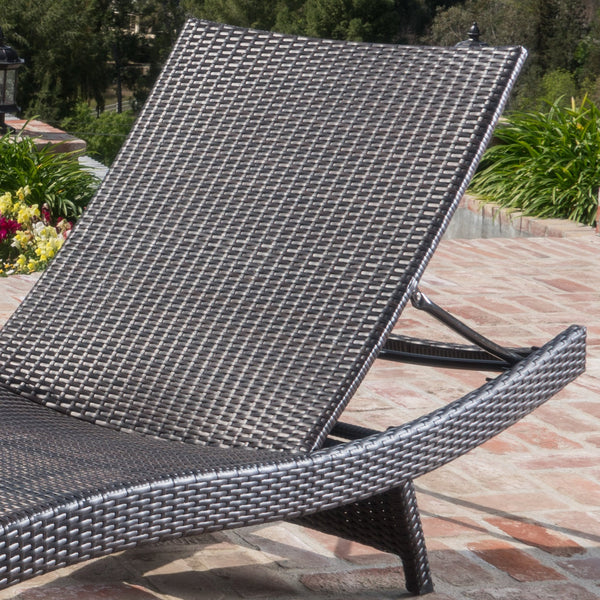 Sagan Outdoor Wicker Adjustable Chaise Lounge Chair (Set Of 2)