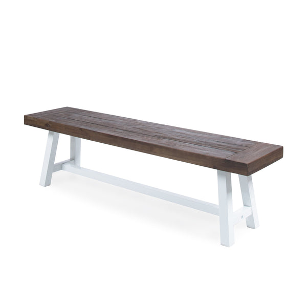 Josh Indoor Farmhouse Sandblast Finish Acacia Wood Dining Bench With Rustic Metal Finish Frame