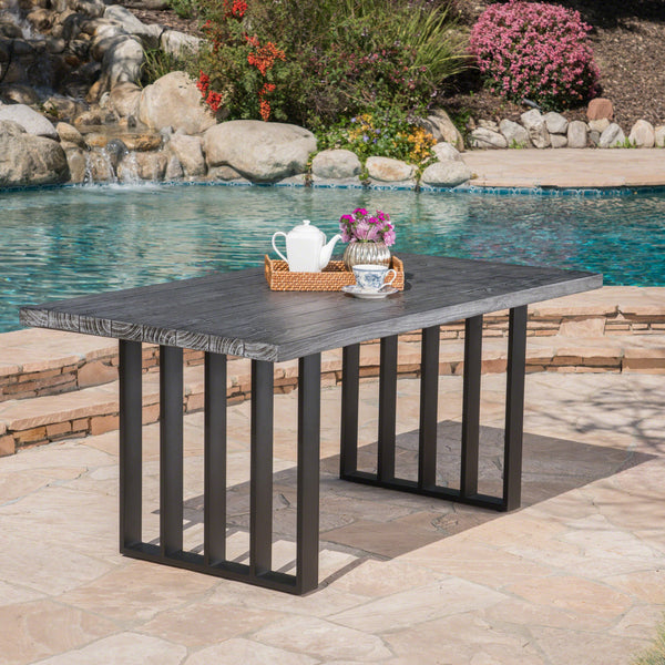 Kamela Outdoor Natural Finish Concrete Dining Table