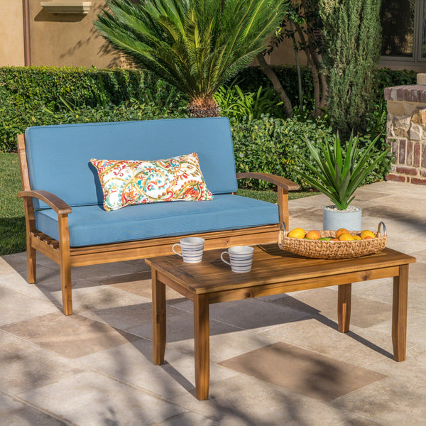 Perlic Outdoor Teak Finished Acacia Wood Loveseat And Coffee Table Set With Water Resistant Cushions