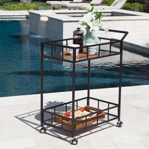 Vance Outdoor Industrial Modern Powder Coated Iron Bar Cart With Tempe Glass Top