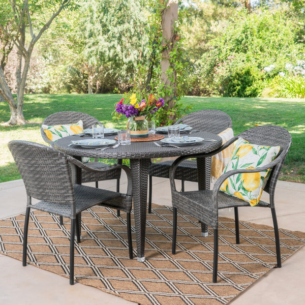 Bellmont Outdoor 5 Piece Wicker Circular Dining Set