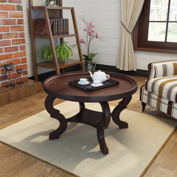 Alpha Faux Wood Circular Coffee Table