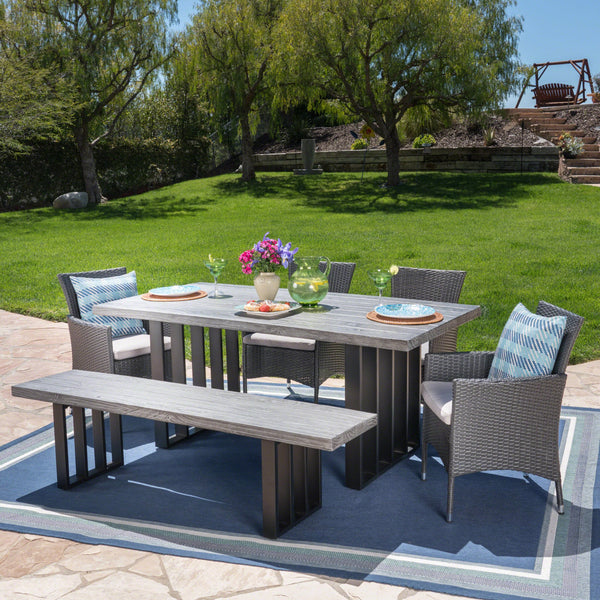 Breanna Outdoor 6 Piece Wicker Dining Set With Finish Concrete Dining Table And Bench And Water Resistant Cushions