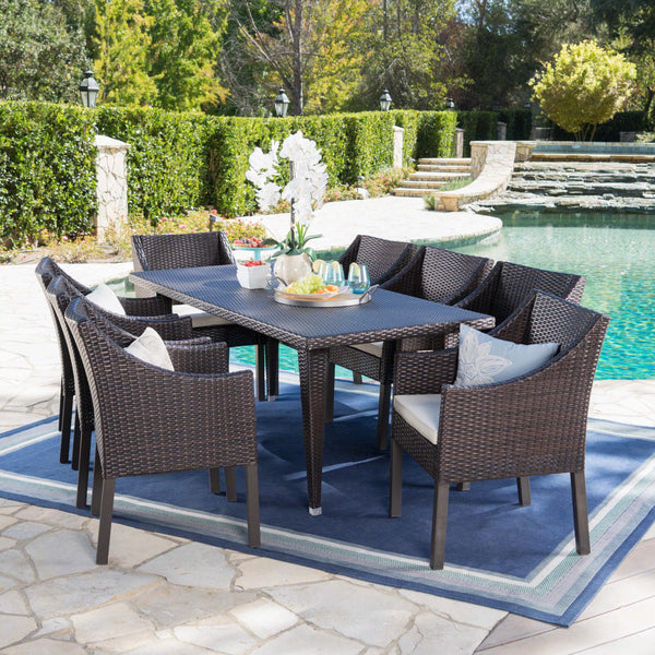 Ainsley Outdoor 9 Piece Wicker Rectangular Dining Set With Water Resistant Cushions