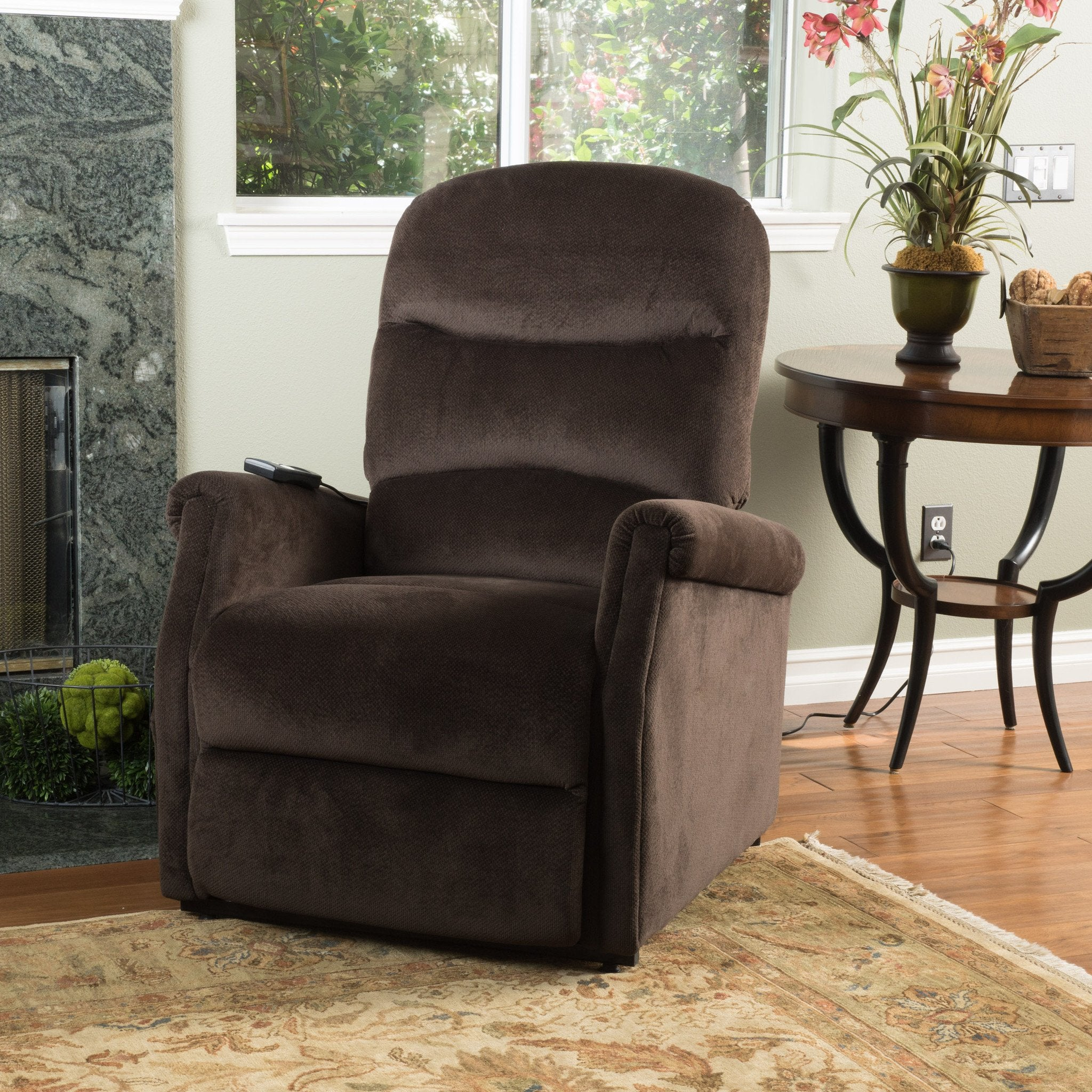 Hadrian Latte Fabric Lift Up Chair