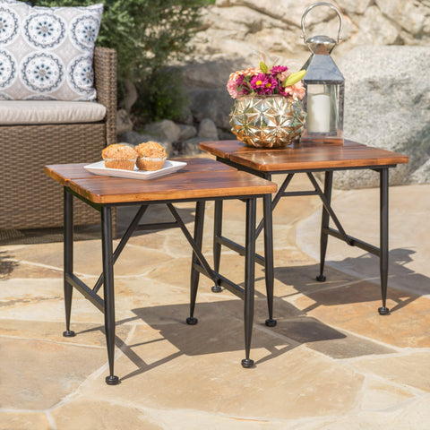 Ridge Outdoor Industrial Antique Finished Acacia Wood Accent Table With Iron Accents