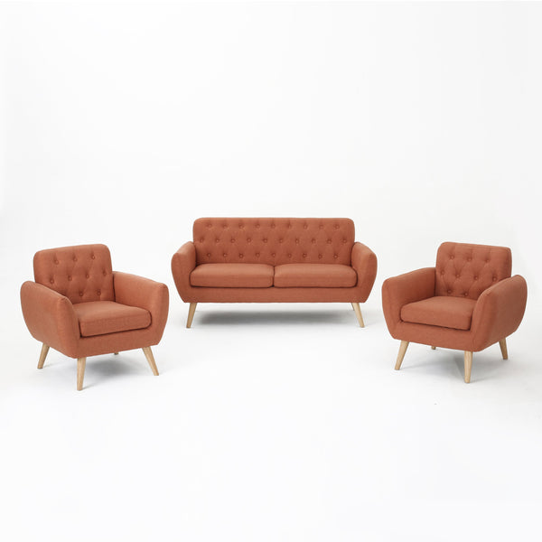 Berlin Petite Mid Century Modern Tufted Fabric 3 Piece Sofa And Club Chairs Set