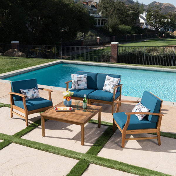 Penfield Outdoor 4 Seater Teak Finished Acacia Wood Chat Set With Water Resistant Cushions