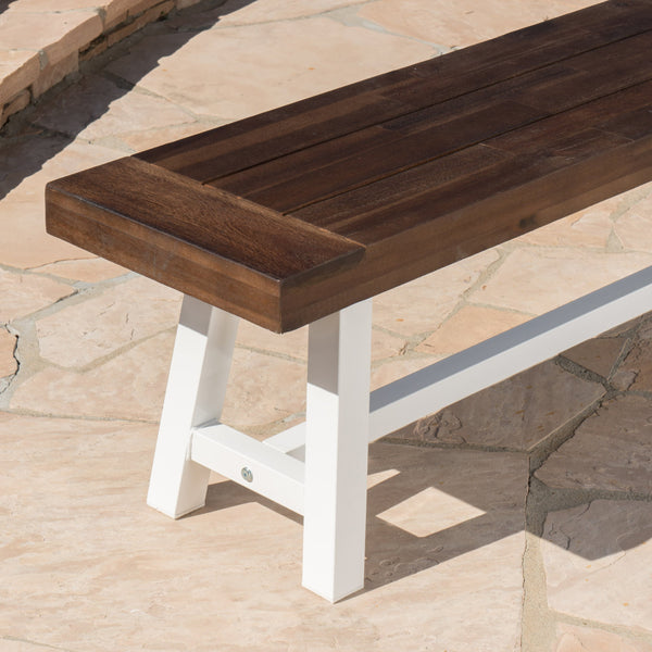 Carisia Outdoor Sandblast Finish Acacia Wood Dining Bench With Rustic Metal Finish Frame