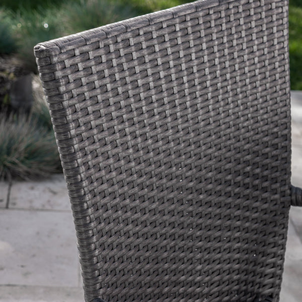 Fontanelle Outdoor 7 Piece Wicker Dining Set With Textured Finish Concrete Dining Table