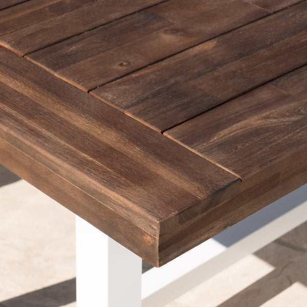 Carisia Outdoor Sandblast Finish Acacia Wood Dining Table With Rustic Metal Finish Frame