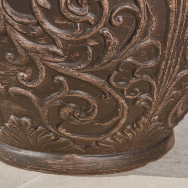 Alphonse Outdoor Antique Finished Cast Stone Planter