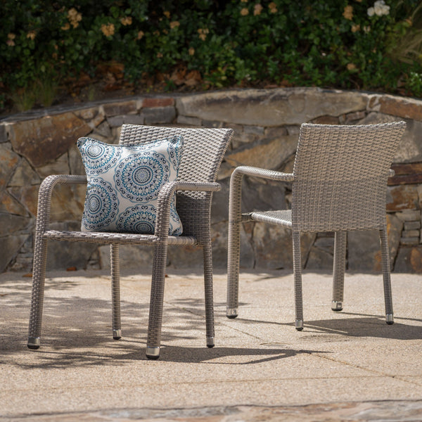 Dorsey Outdoor Wicker Armed Stack Chairs With An Aluminum Frame (Set Of 2)