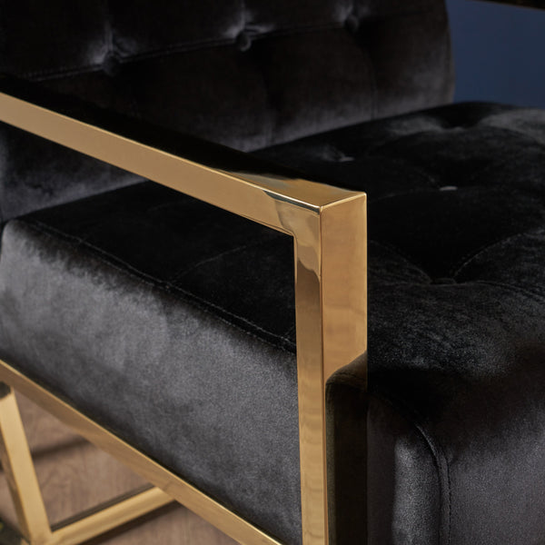 Atwood Modern Tufted Club Chair With Stainless Steel Frame