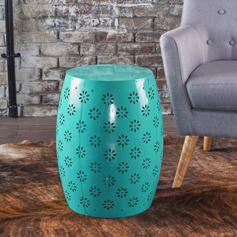 Zhana Lace Cut Iron Accent Table