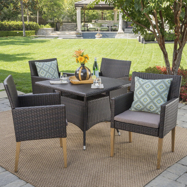 Bardow Outdoor 5 Piece Wicker Square Dining Set With Wood Finished Legs And Water Resistant Cushions