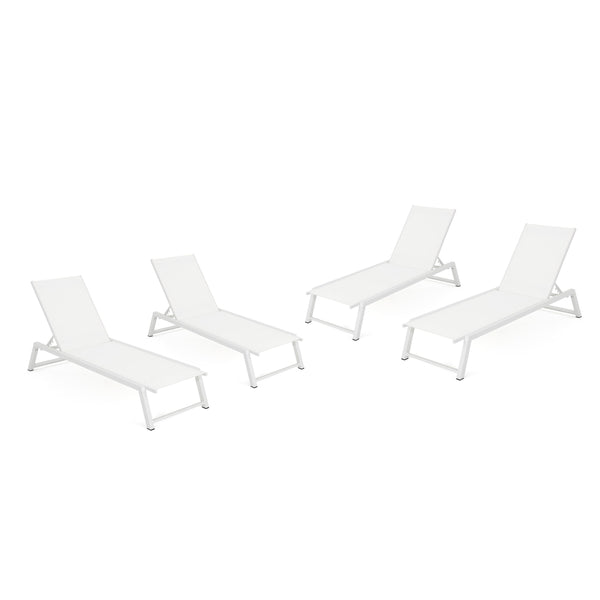 Mumford Outdoor Mesh Chaise Lounge With Aluminum Frame