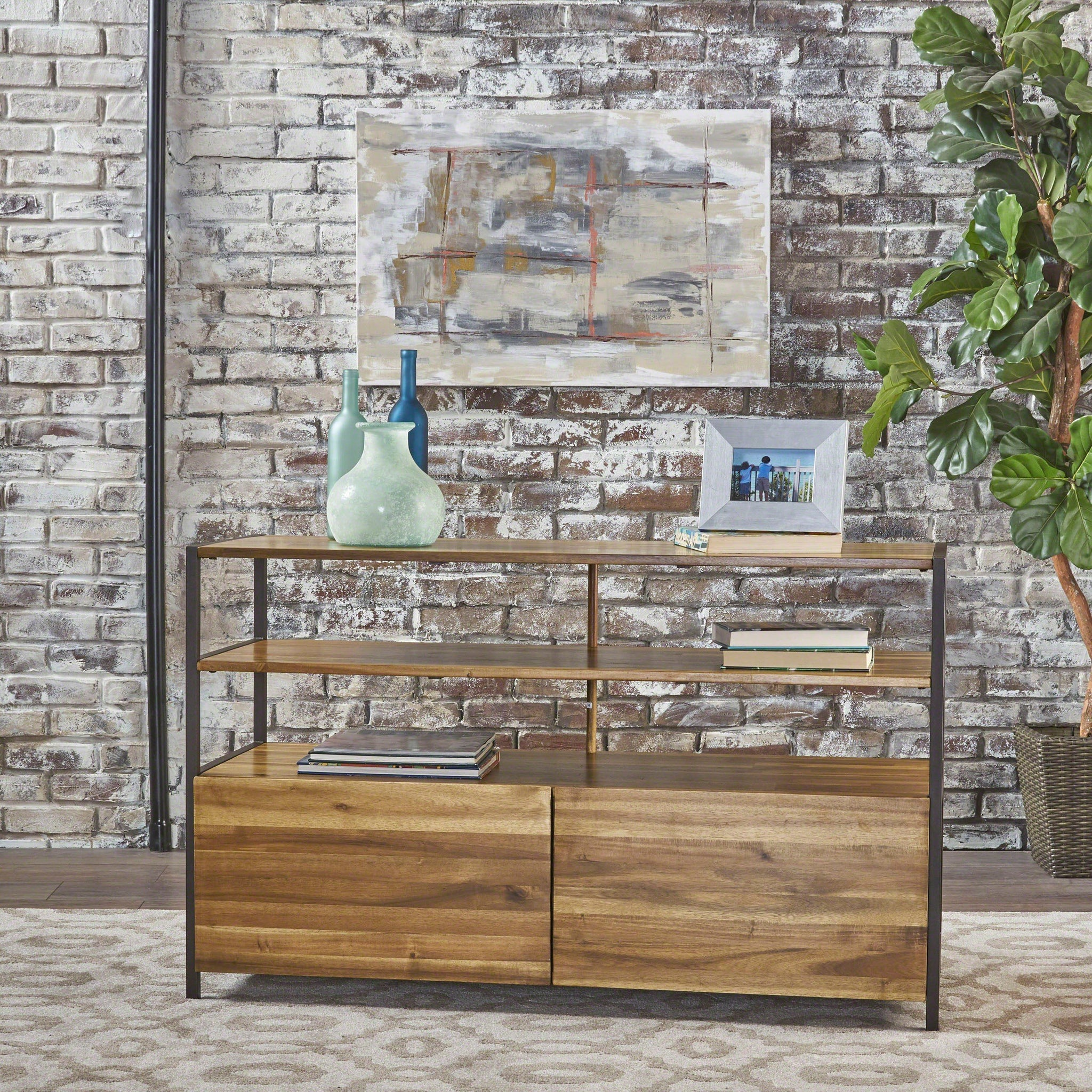 Fletcher Natural Stained Acacia Wood Cabinet With Rustic Metal Finished Iron Accents