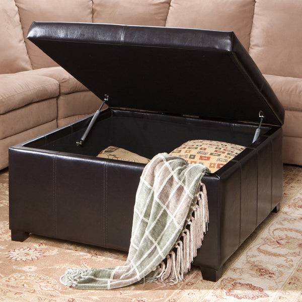 Folsom Bonded Leather Square Storage Ottoman