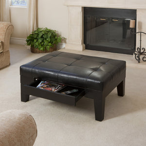 Charell Bonded Leather Storage Ottoman