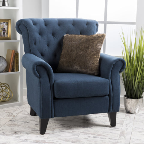 Son And Floral Fabric Tufted Chair