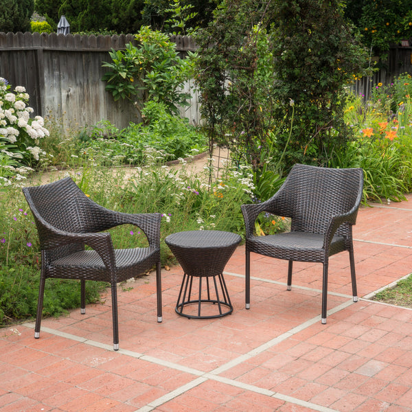 Outter Outdoor 3 Piece Wicker Stacking Chair Chat Set
