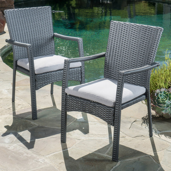 Camero Outdoor 5 Piece Wicker Dining Set With Cushions