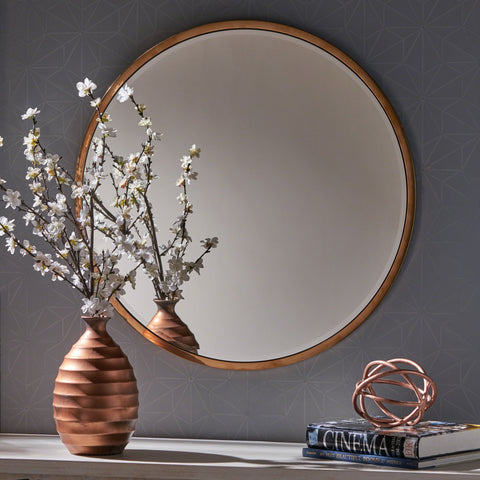 Abigal Circular Wall Mirror With Rose Finished Stainless Steel Frame