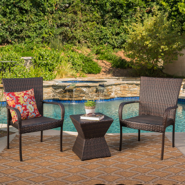 Brightwood Outdoor 3 Piece Mutti Wicker Chat Set With Stacking Chairs And Square Side Table
