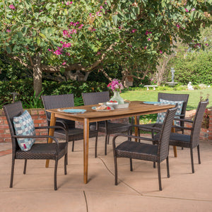 Harwich Outdoor 7 Piece Wicker Dining Set With Teak Finish Rectangular Acacia Wood Dining Table