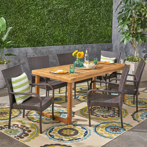 Max Outdoor 7 Piece Acacia Wood Dining Set With Stacking Wicker Chairs