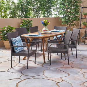 Jamison Outdoor 7 Piece Acacia Wood And Wicker Dining Set