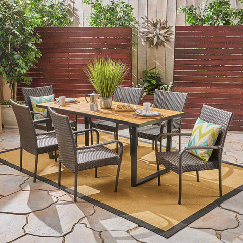 Banbury Outdoor 6-Seater Rectangular Acacia Wood And Wicker Dining Set