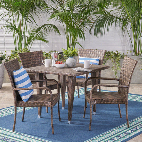 Dejon Outdoor 5 Piece Wicker Dining Set