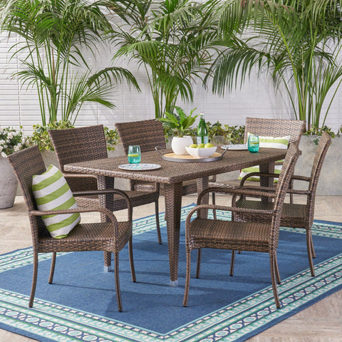 Dejon Outdoor 7 Piece Wicker Dining Set
