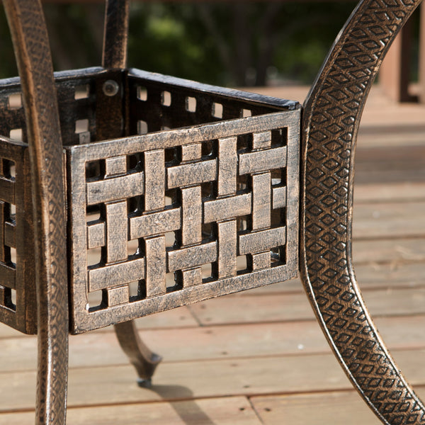Elise Outdoor 5Pc Shiny Copper Cast Aluminum Dining Set With Wicker Chairs And Cushions