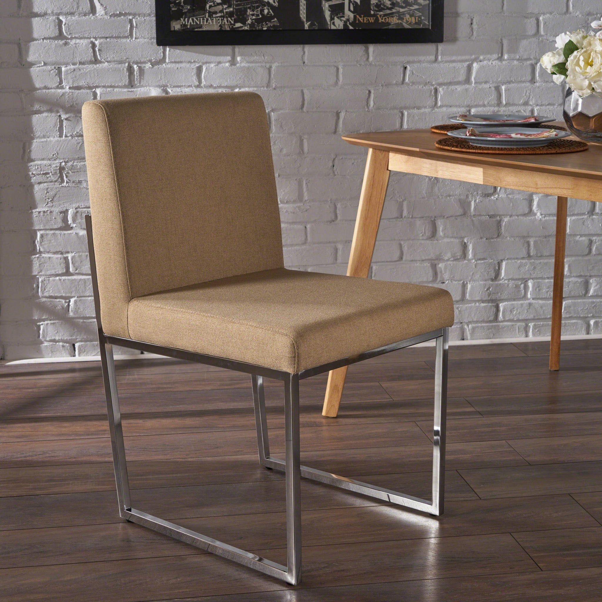 Delila Modern Fabric Dining Chair With Chrome Finished Iron Legs