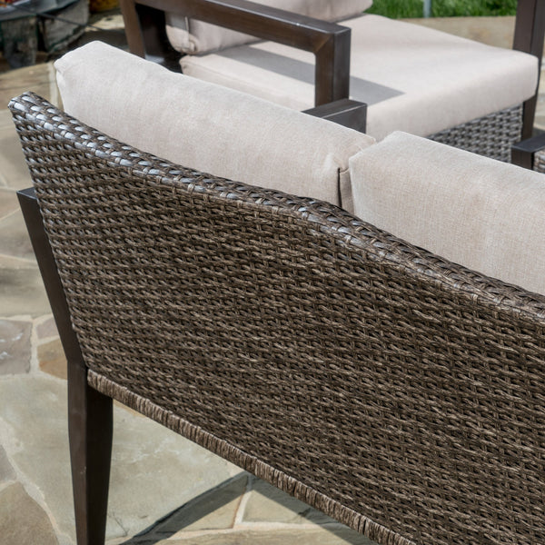 Crest Outdoor Wicker 4 Piece Chat Set With Water Resistant Cushions
