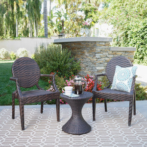Cheri Outdoor 3 Piece Mutti Wicker Chat Set With Stacking Chairs And Hourglass Side Table